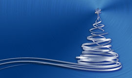 Christmas Tree From White Tapes Over Blue Metal Background Stock Photo