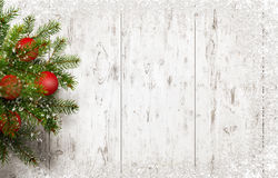 Christmas tree on white wooden desk with free space for greeting text Royalty Free Stock Photography