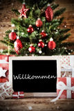 Christmas Tree With Willkommen Means Welcome Royalty Free Stock Images