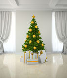 Christmas tree winh gold decor in classic style room 3D renderin Stock Photo