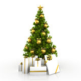Christmas tree winh gold decor isolated on white background Stock Photo