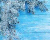 Christmas tree winter branch holiday season on blue wooden background, snow. Christmas tree branch winter blue wooden background, snow season holiday royalty free stock photos