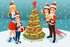 Christmas Tree at Winter Family Holidays Royalty Free Stock Photography