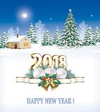 Happy New Year 2018. New Year tree and Christmas decorations. Christmas tree on a winter landscape Stock Photos