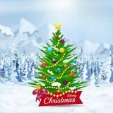 Christmas tree on winter snow background. Stock Image