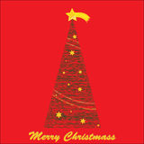 Christmas tree. With the wishes of Merry Christmas and a Christmas star on red background Stock Photo
