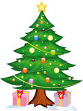 Christmas tree witch gifts. Vector illustration shows a tree under which gifts are Royalty Free Stock Photos