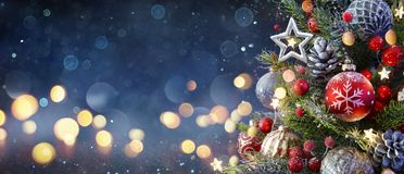 Free Christmas Tree With Baubles Stock Photography - 160286942