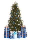 Christmas Tree With Blue Ball, Gift Box Group. Royalty Free Stock Images