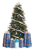 Christmas Tree With Blue Ball, Gift Box Group. Royalty Free Stock Photo