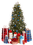 Christmas Tree With Blue Ball, Group Gift Box. Royalty Free Stock Photos