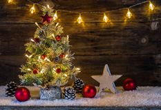 Free Christmas Tree With Lights And Decoration At Night Holiday Celebration Background Stock Image - 102560381