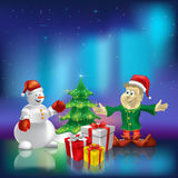 Christmas tree wiyh gifts on aurora borealis Stock Images