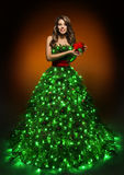 Christmas Tree Woman Dress, Fashion Girl in Lighting Xmas Gown Royalty Free Stock Photos