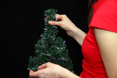 Christmas tree in woman hands Royalty Free Stock Photos