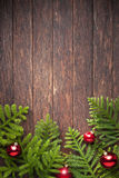 Christmas Tree Wood Background Stock Photography