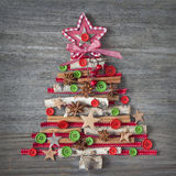 Christmas tree. On wooden background Stock Images