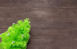 Christmas tree is on on the wooden background with empty space Stock Photo