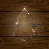 Christmas tree on wooden background Royalty Free Stock Photos