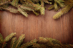 Christmas Tree on wooden background Royalty Free Stock Images