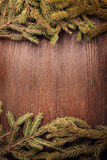 Christmas Tree on wooden background Royalty Free Stock Photography