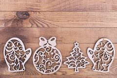 Christmas tree wooden decoration. Natural decoration on Christmas. New Year`s card with place for inscription royalty free stock image