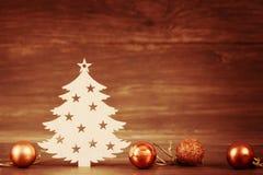 Christmas tree wooden decoration on Season Holiday theme and toys Royalty Free Stock Photo