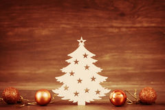 Christmas tree wooden decoration on Season Holiday theme and toys Stock Photography