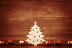 Christmas tree wooden decoration on Season Holiday theme and toys Royalty Free Stock Images