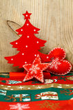 Christmas tree  wooden decorations Stock Images