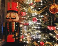Christmas tree and wooden Nutcracker. Beatiful new year interior in Budapest opera Royalty Free Stock Photos