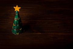 Christmas tree on wooden planks Stock Photography