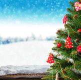 Christmas tree with wooden planks Stock Photo