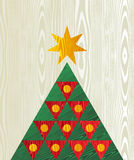 Christmas tree wooden textured shape greeting card. Christmas  tree wooden textured shape greeting card background. Vector file layered for easy manipulation and Royalty Free Stock Image