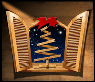 Christmas Tree in Wooden Window Stock Photography