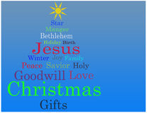Christmas tree word cloud card. Christmas tree word cloud over a blue gradient background with copy space available royalty free illustration