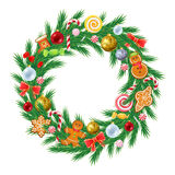 Christmas tree wreath with decorations. Stock Image