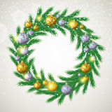 Christmas tree wreath with decorations. Royalty Free Stock Photos