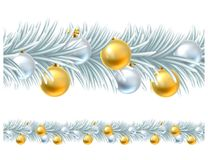 Christmas Tree Wreath Garland Design. A silver and gold Christmas tree wreath garland design with baubles or decorations. Seamlessly tillable to make any length Royalty Free Stock Photos
