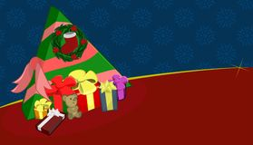 Christmas Tree Wreath Presents Gifts Illustration. A Christmas tree shaped gift box and presents Royalty Free Stock Photography
