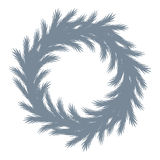 Christmas tree wreath silhouette. Stock Images