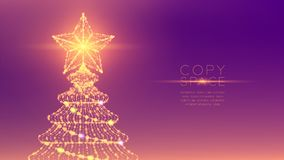 Christmas Tree with Star wireframe polygon bokeh light frame structure and lens flare, Technology connection concept design illust. Ration isolated on purple vector illustration