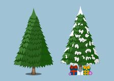 Christmas Tree, XMas icon. Cartoon style. Vector Illustration fo Royalty Free Stock Photography