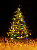 Christmas tree from the xmas lights (play with the light). Royalty Free Stock Photo