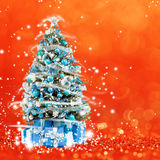 Christmas tree from the xmas lights (play with the light). Bokeh background Stock Photos