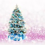 Christmas tree from the xmas lights (play with the light). Stock Photo