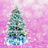 Christmas tree from the xmas lights (play with the light). Stock Images