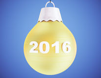 2016 christmas tree yellow ball on blue background Royalty Free Stock Image