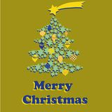 Christmas tree with yellow and blue balls and star above the tree. Vector illustration on golden background. Merry Christmas Royalty Free Stock Photography