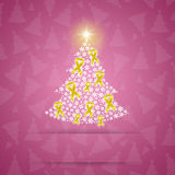 Christmas tree with yellow ribbons Royalty Free Stock Photos